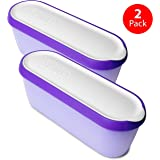 SUMO Ice Cream Containers • Insulated Ice Cream Tub • Container Ideal for Homemade Ice-Cream, Gelato or Sorbet • Dishwasher Safe • 1.5 Quart Capacity • [Purple, 2-Pack]