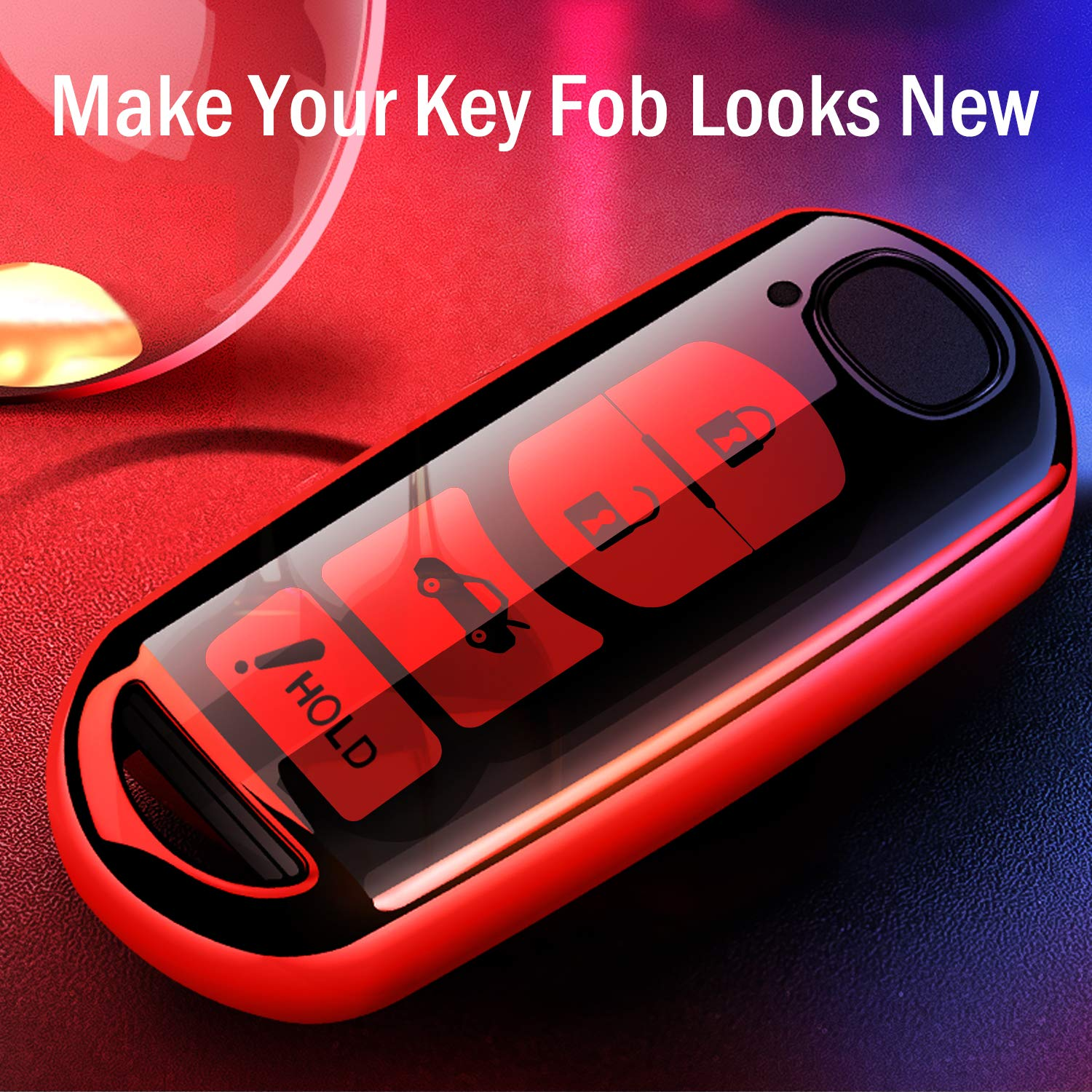 Key Fob Case for Mazda 3 6 8 Miata MX-5 CX-3 CX-5 CX-7 CX-9 4-Buttons Premium Soft TPU Full Cover Protection Smart Remote Keyless Key Fob Shell COMPONALL for Mazda Key Fob Cover Rose Gold