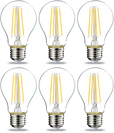 AmazonBasics Bombilla LED Esférica E27 con Filamento, 7W (equivalente a 60W), Blanco