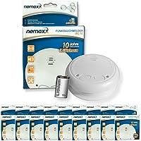 9x  Nemaxx WL10 Funkrauchmelder - mit 10 Jahre Lithium Batterie Rauchmelder Feuermelder Set Funk koppelbar vernetzt - nach EN 14604