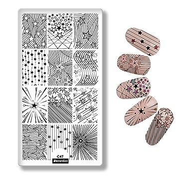 amazon com mezerdoo stripe stars nail templates diy nails plates