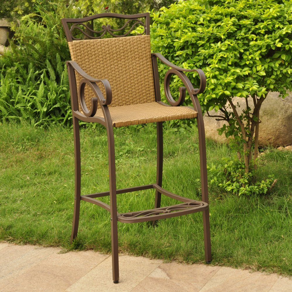 Amazon.com : International Caravan Valencia Bar Height Wicker Chair (Set Of  2) : Patio Dining Chairs : Garden U0026 Outdoor