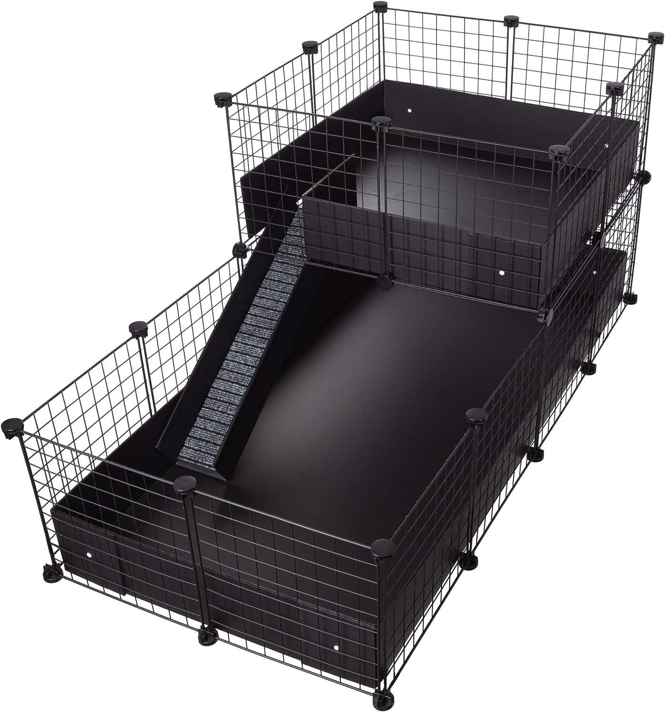 CagesCubes - Jaula CyC Deluxe (Base 2X4 + Loft 2x2 - Panel Negro) + Base de Coroplast en Negro para cobayas