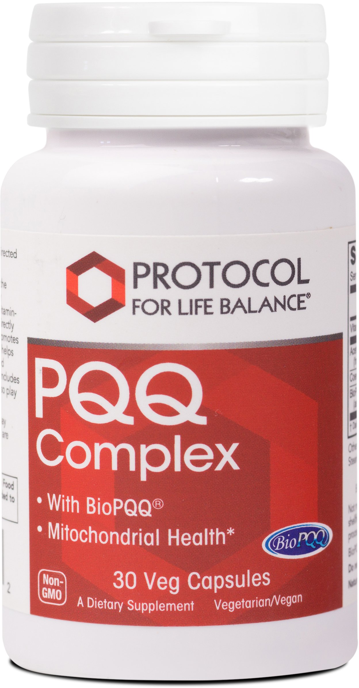 Protocol For Life Balance - PQQ Complex - with BioPQQ® for Mitochondrial Health and Natural Energy Production - 30 Veg Capsules
