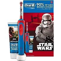 Oral B Star Wars - Cepillo electrico, recargable y pasta de dientes Oral B, color azul y rojo