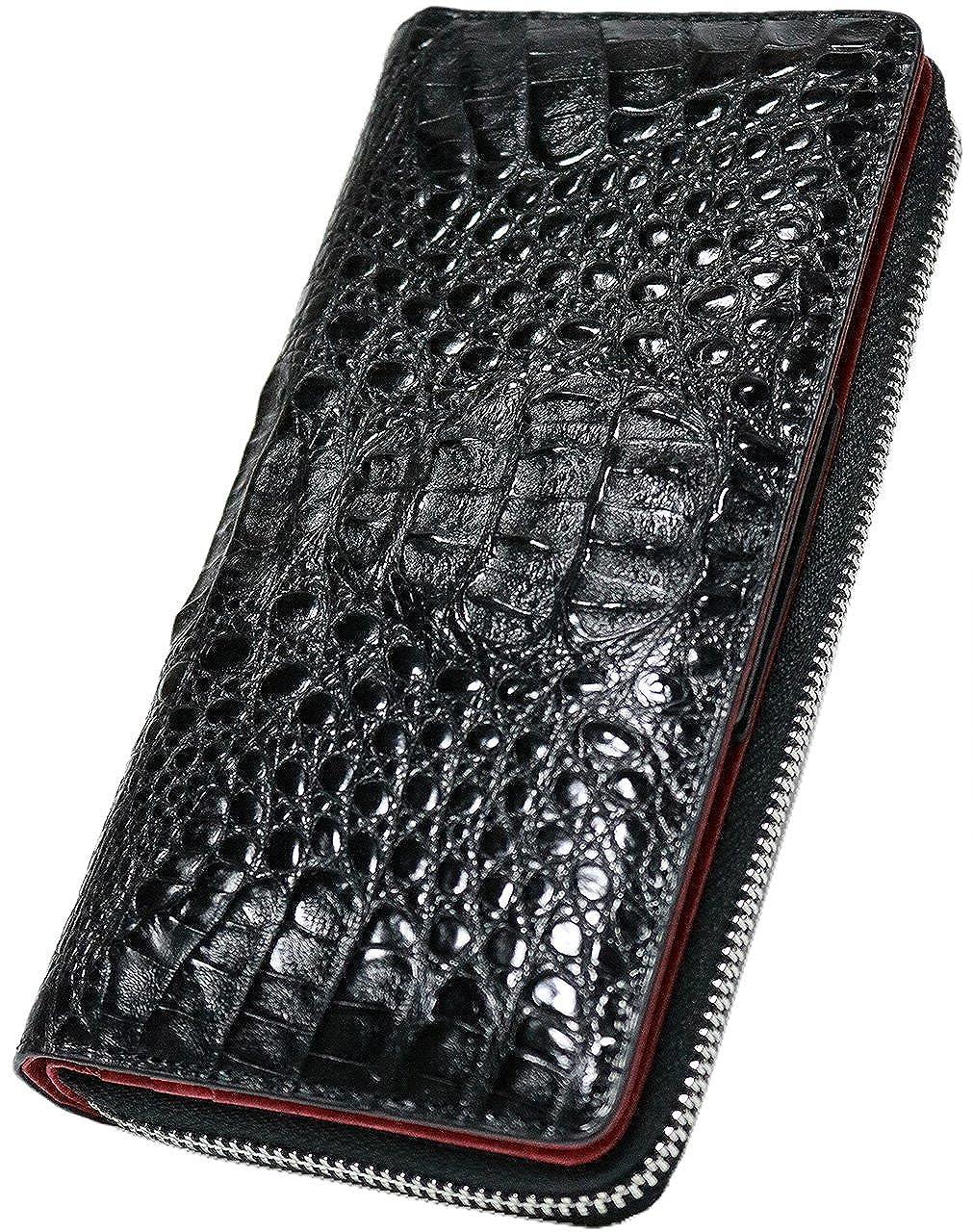 [Berkut] 【本物 クロコダイル革】高級 本革 ワニ革 大容量 黒赤 長財布 ラウンドファスナー ギフトボックス付き 0010054 B07FBV76VP ブラック F