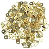 TOYMYTOY Metal, Copper Small Triangle D-Ring Single Hole Picture Frame Hangers Holders with Screws (Golden, 0.79 x 0.39 inch) 100 Pieces
