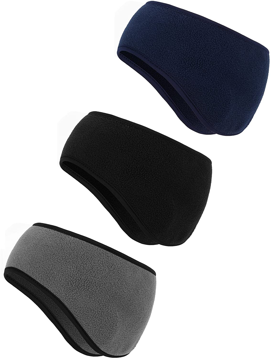 BBTO 3 Pieces Ear Warmer Headband Winter Headbands Fleece Headband for Women Men Color Set 5