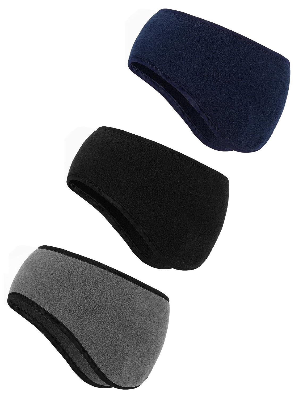 3 Stücke Ohrwärmer Stirnband Winter Kopfband Schaffell Stirnbänder für Herren und Damen