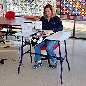 Sullivans Sew & Go Adjustable Height Foldable Sewing Table, by The Yard, White