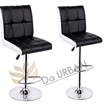Da URBAN Height Adjustable Black & White Cadbury (Set of 2) Cafeteria & BAR Stool/Chair (ISO and BIFMA Certified)