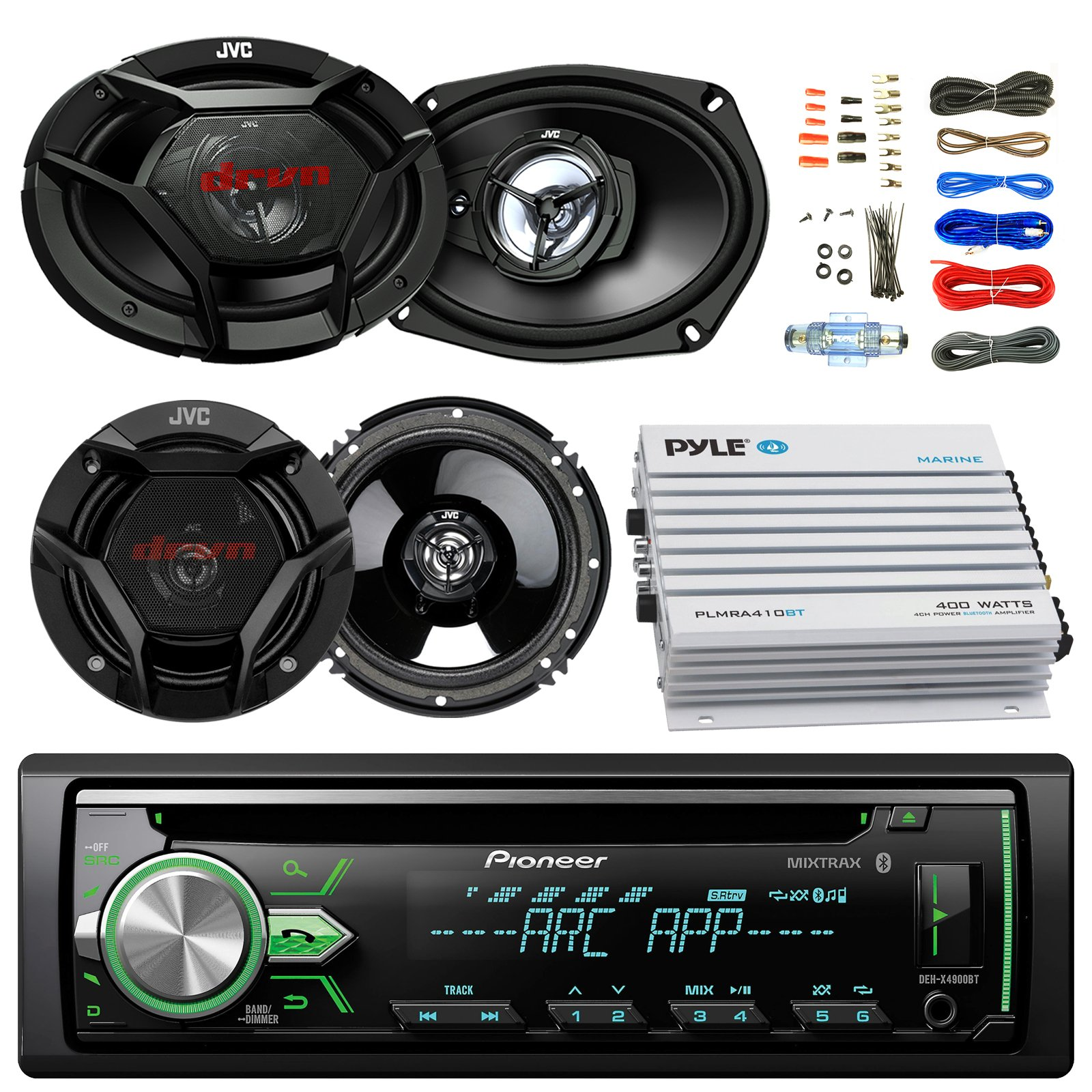 Pioneer DEH-X4900BT Car Bluetooth Radio USB AUX CD Player Receiver - Bundle Combo With 2x JVC 6x9'' 3-Way Vehicle Coaxial Speakers + 2x 6.5'' Inch 2-Way Audio Speakers + 4-Channel Amplifier + Amp Kit by EnrockAutomotiveBundle