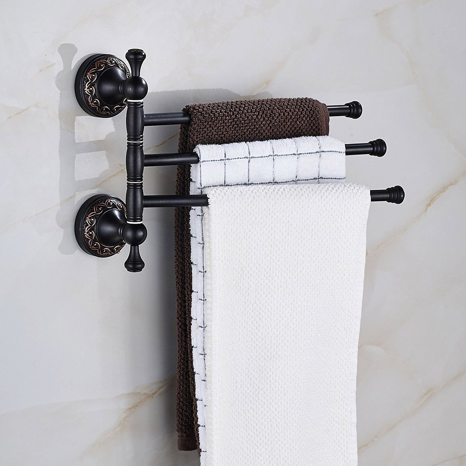Amazon.com: Oulantron Oil Rubbed Bronze Active 3 Towel Bars Wall ...