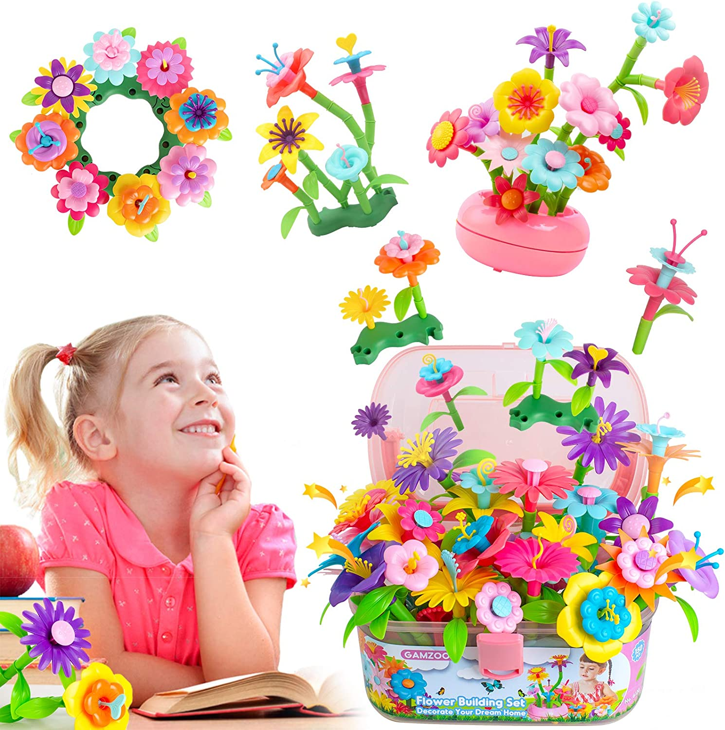 GAMZOO Flower Garden Building Toys - Birthday Gift for 3-6 Year Old Girls - Fun Blooming!(150pcs)