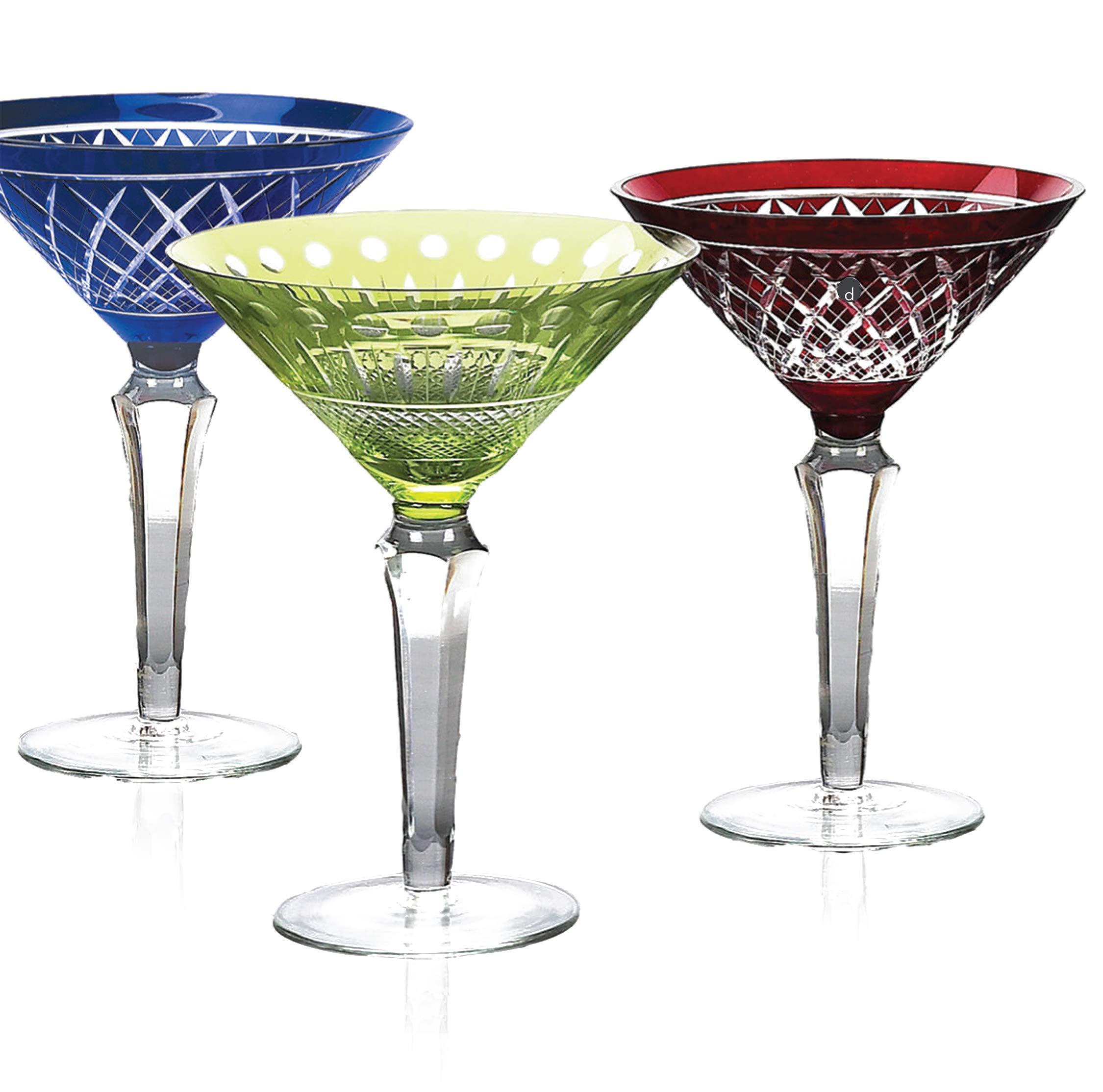 IMPULSE! Glam Martini Cobalt Blue Martini Glasses, Set of 6