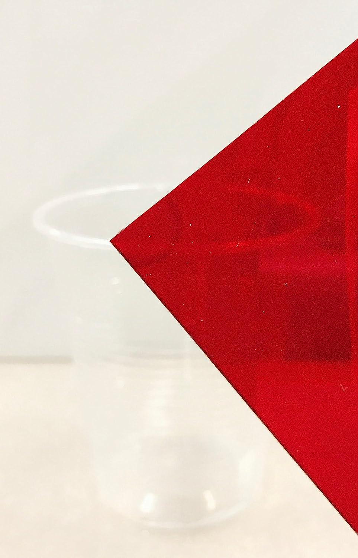 "ACRYLIC PLEXIGLASS SHEET RED TRANSPARENT #2423 1//8/"" X 4/"" X 8/"""