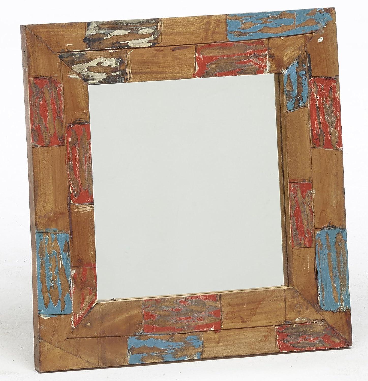 Veli e Arredi Specchio Shabby Quadrato con Inserti di Legno Esotico Massello Riciclati e Sabbiati Misure 60 x 60