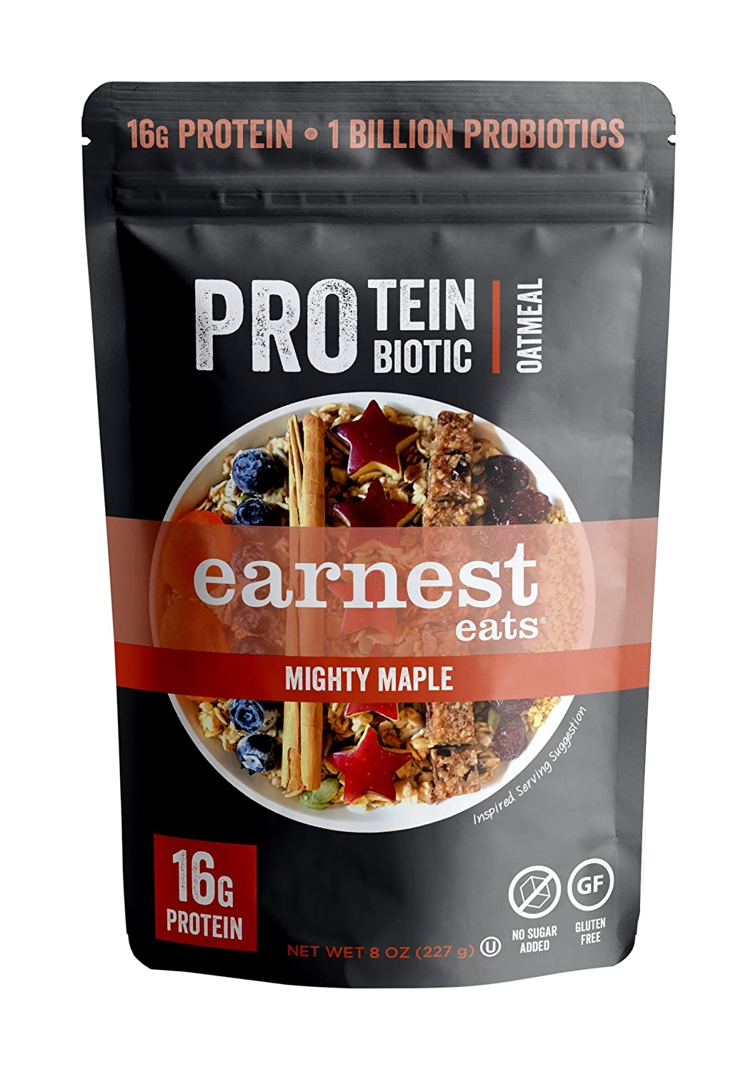 Earnest Eats PRO: Protein + Probiotic Superfood Oatmeal, Gluten Free, Mighty Maple, 4 Servings, 16g Protein per Serving, 8 Ounce (Pack of 1)
