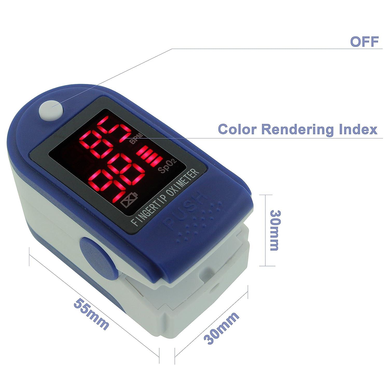 Oxímetro de pulso, la yema del dedo para cebar pulsómetro oximetría tensiómetro Monitor con pantalla LED, dos baterías y cordón, azul y blanco: Amazon.es: ...