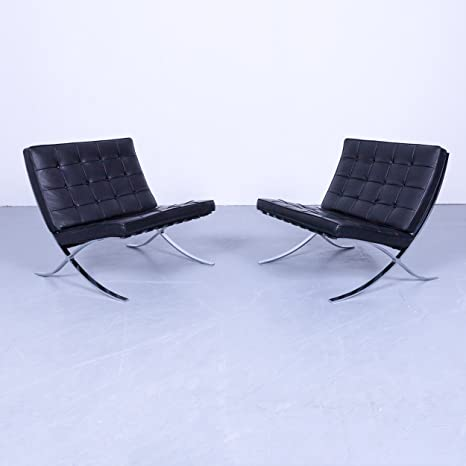 Prezzo Poltrona Barcelona Originale.Knoll International Barcelona Chair Garnitur Nero In Velluto