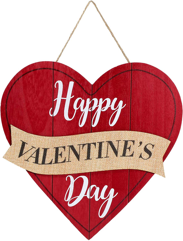 Jetec Happy Valentines Day Sign Red Heart Wooden Sign Valentine Heart Wall Hanging Sign Valentines Day Wall Plaque for Valentines Day Table Window Door Wall Decor