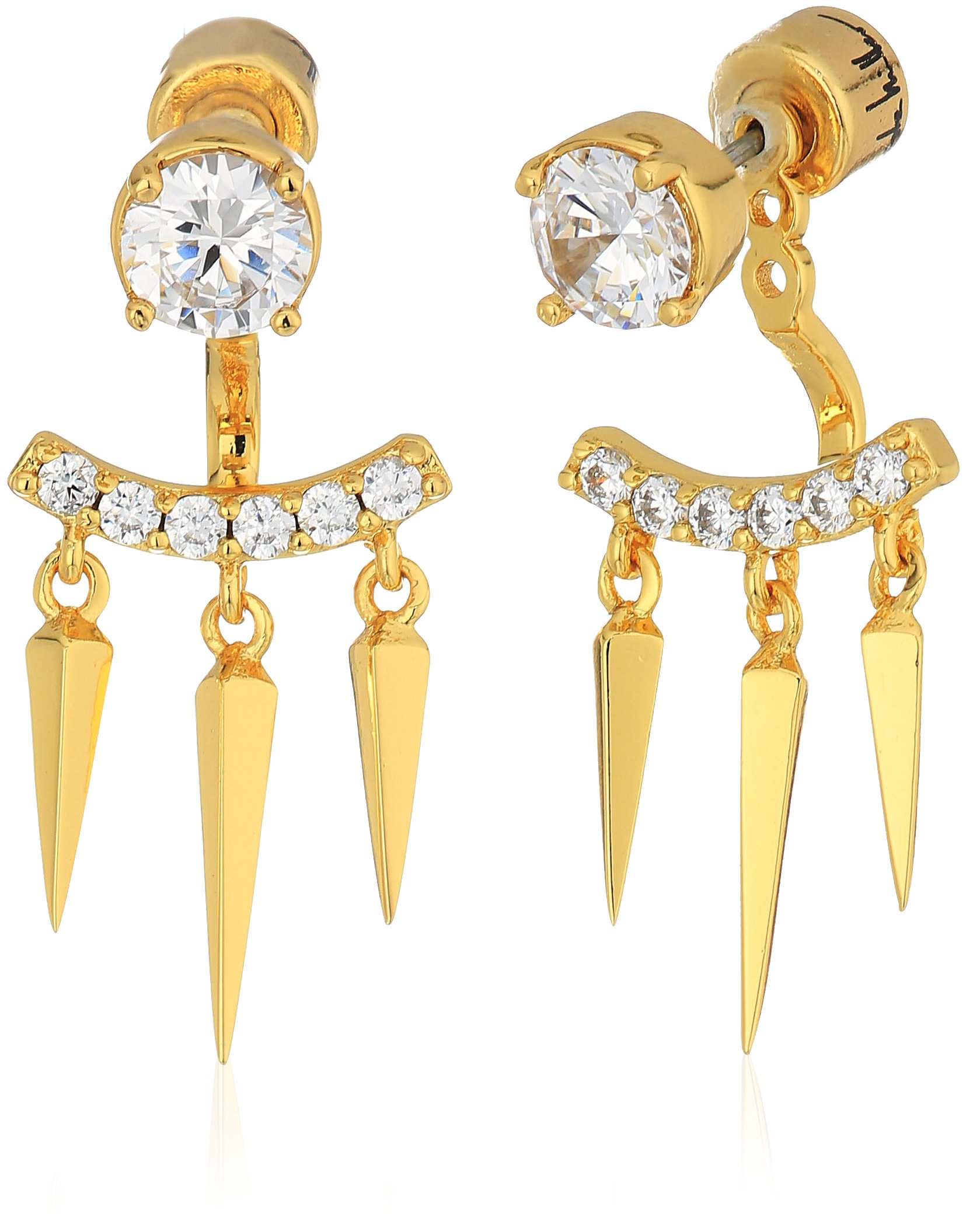 Nicole Miller New York Arrow Short Fringe Spike Ear Jacket Gold Earrings