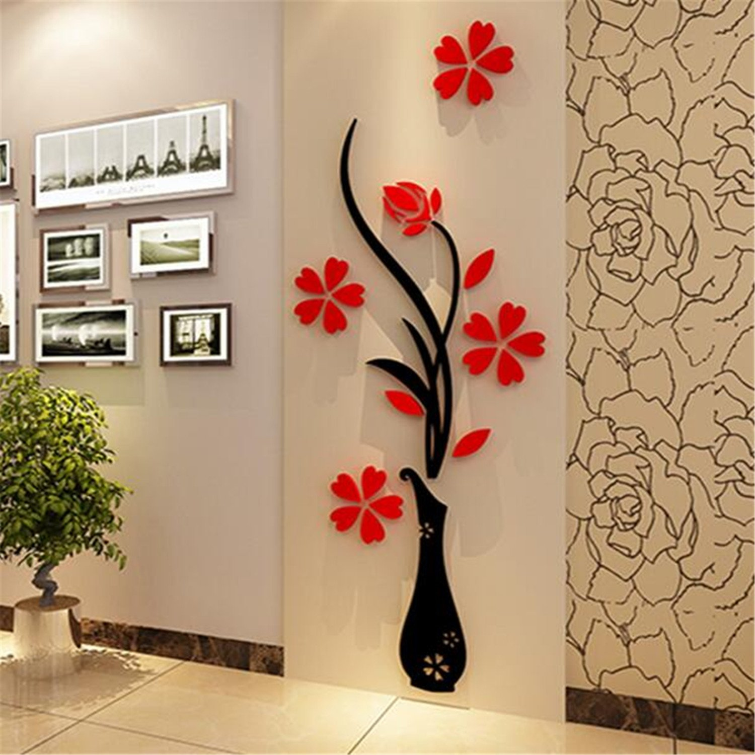 Amazon home accessories 3d wall decoration wall hangings amazon home accessories 3d wall decoration wall hangings creative ceramic flower wall murals removable wall decals home kitchen amipublicfo Image collections
