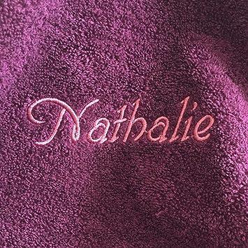 Toalla de ducha con nombres hochwertg bordados, 70 x 140 cm, color morado,
