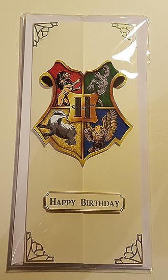 Handmade Harry Potter Inspired House Crest Birthday Card
