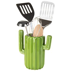 MyGift Green Ceramic Cactus-Shaped Utensil Crock