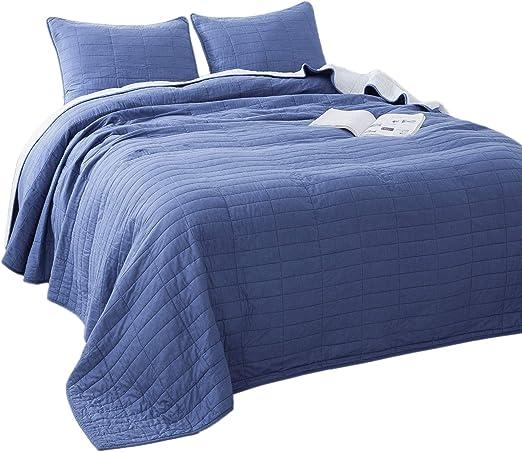 Blue 4-Piece Solid Chevron Quilt Bedding Set Reversible Pillow Shams KING Size