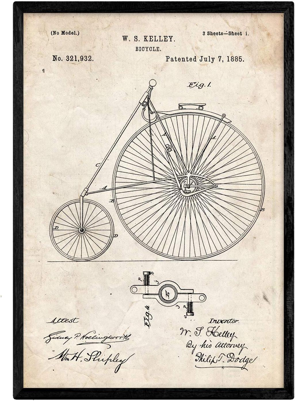 Nacnic Poster con Patente de Bicicleta 2. Lámina con diseño de ...