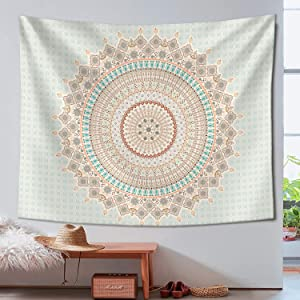 "Zussun Tapestry Mandala Hippie Bohemian Wall Hanging Orange Floral Wall Hanging Tapestries Decor (50"" x 60"")"