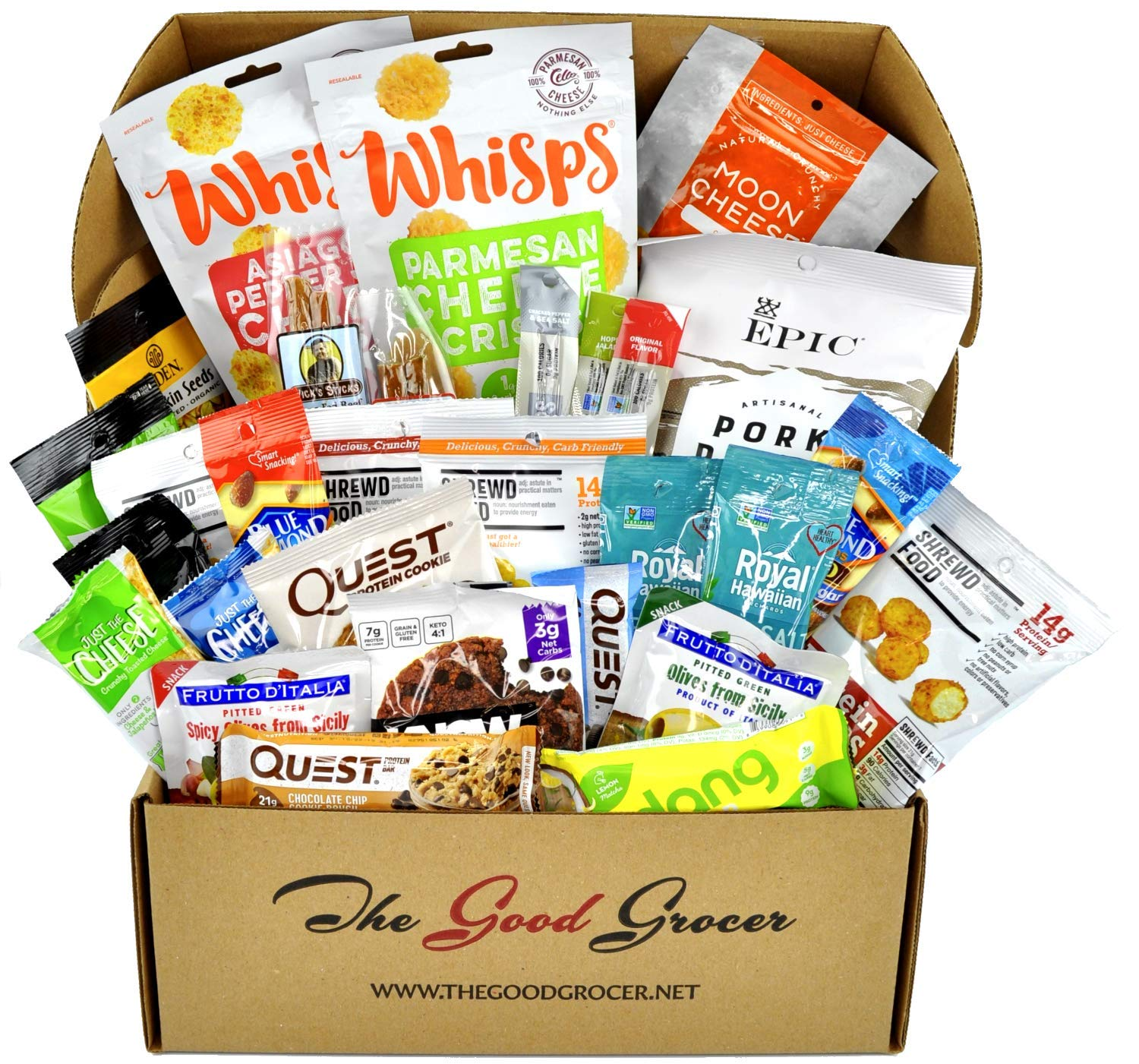Deluxe KETO Friendly Snacks Care Package (30ct): Ultra Low Carb, Gluten Free, Low Sugar, Pork Rinds, Grass Fed Meat Sticks, Bars, Crispy Cheese, Nuts, Healthy Keto Gift Box Variety Pack by The Good Grocer