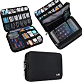 BUBM Double Layer Electronic Accessories Organizer, Travel Gadget Carry Bag, Perfect Size Fit for iPad Mini (Medium, Black)