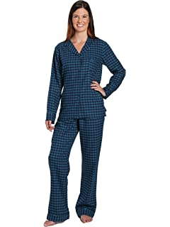 Noble Mount Womens Premium 100% Cotton Yarn Dyed Flannel Pajama Sleepwear  Set 2adeb4cc6