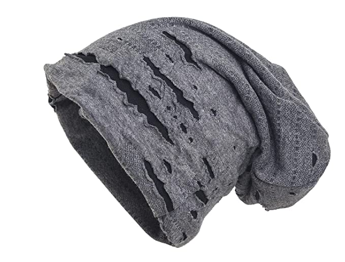 shenky - Cappello Lungo - Jersey - Effetto Rovinato - Grigio  Amazon.it   Abbigliamento f0589f7d7928