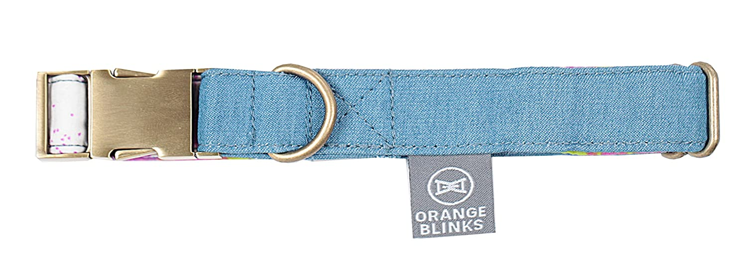 orange Blinks Just Denim Collection Collar for Pets, bluee and Purple-Prints