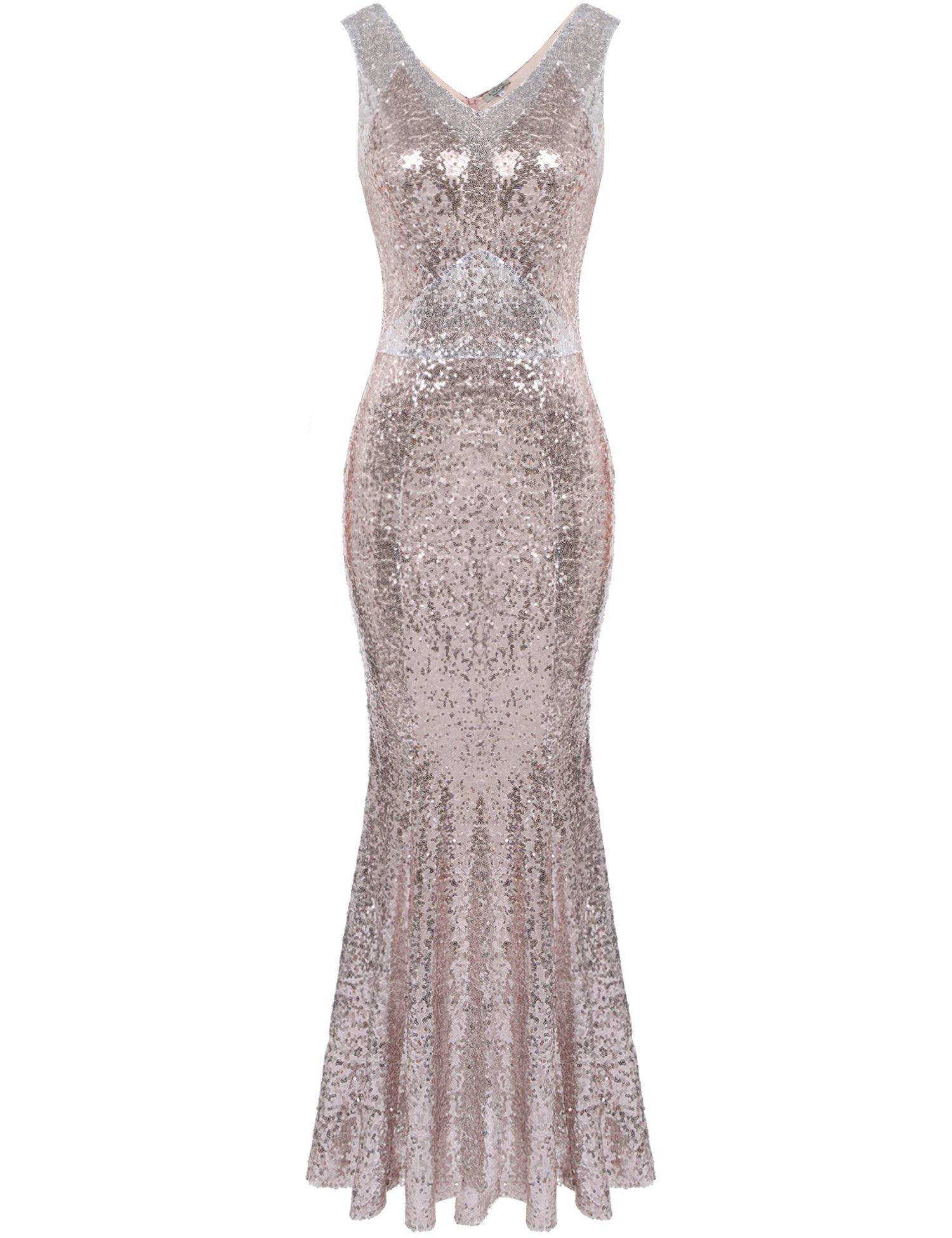 ANGVNS Sexy Sleeveless V Neck Sequins Sparkle Mermaid Bodycon Maxi Prom Dress