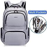 Kuprine Water Resistant Laptop Backpack for Women Lightweight Travel Computer Backpacks for 15 15.6 Inch Laptops Durable School Bookbag for College, Silver Grey