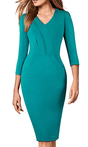 HOMEYEE Women's Elegant V-Neck Wear to Work Party Pencil Sheath Dress B368