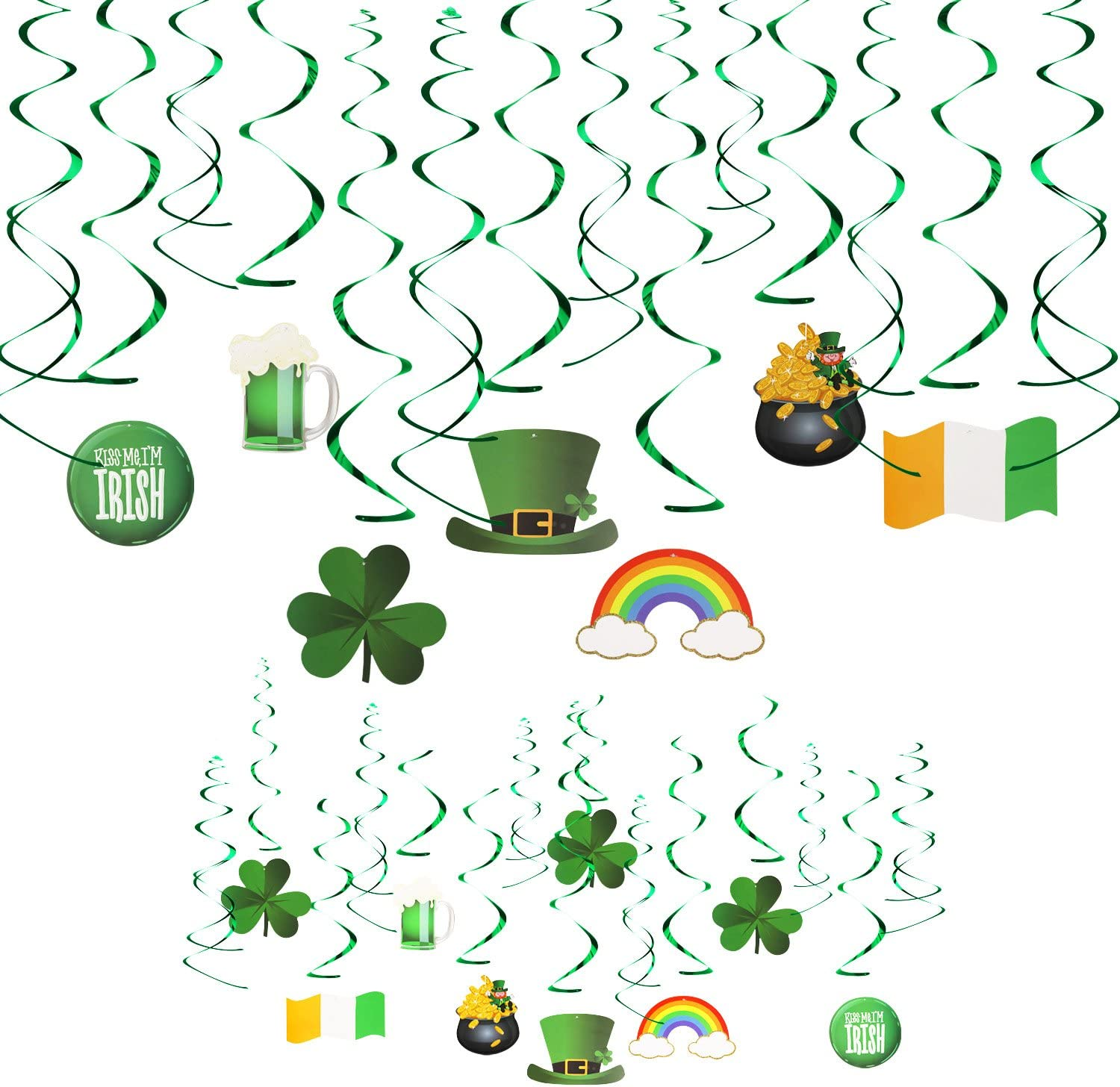 Lucky Irish Green Shamrock and Leprechaun Top Hat Hanging Swirl KissDate 30 Pcs St Perfect for Hanging Ceiling Window Wall Party Decor Supplies Patricks Day Foil Swirl Party Decoration