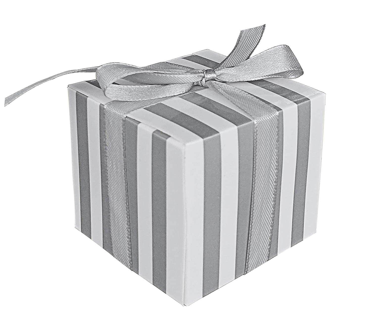 Silver Lontenrea 50 Pcs Silver White Strips Candy Boxes Wedding Birthday Party Favor Gift Box with Silver Ribbon Decoration
