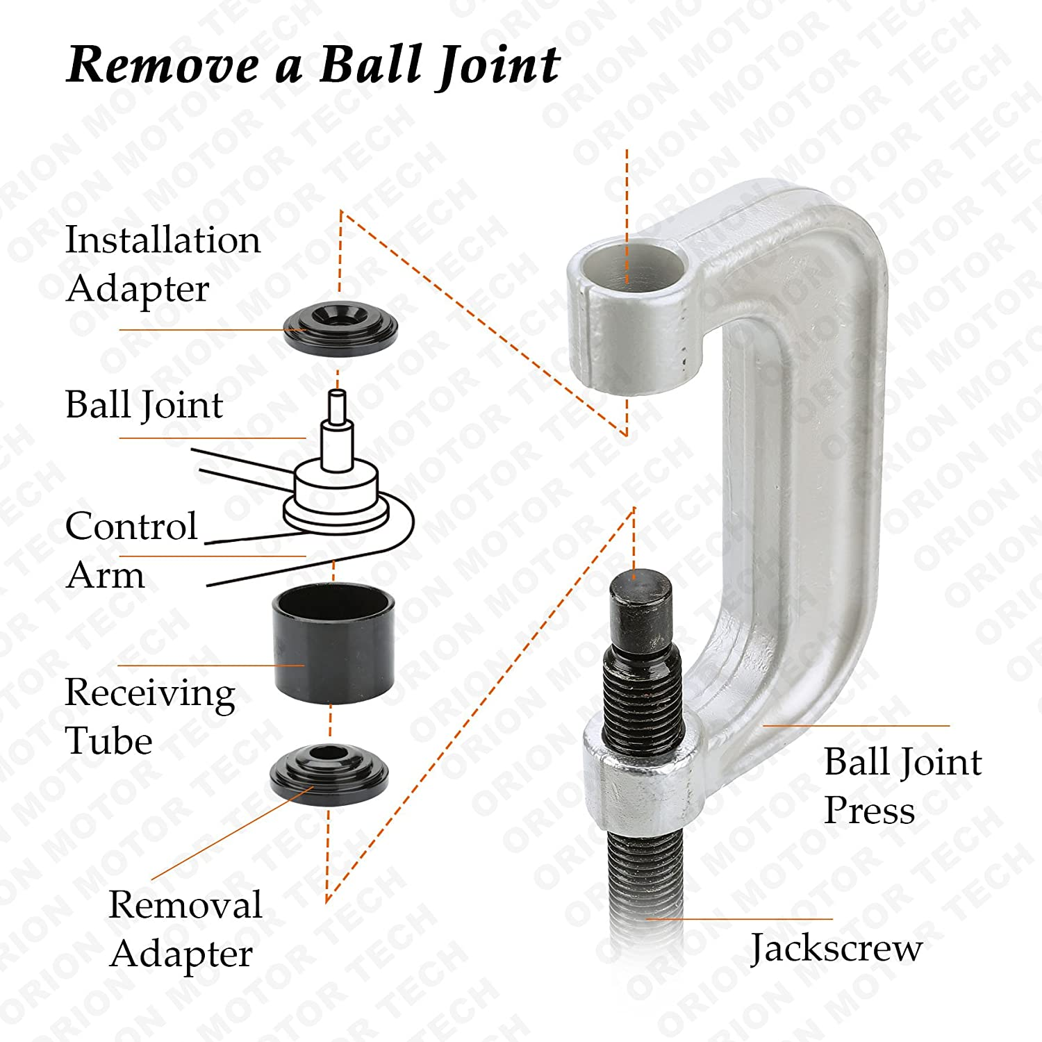 amazon com orionmotortech heavy duty ball joint press u joint rh amazon com upper ball joint diagram ball joint suspension diagram