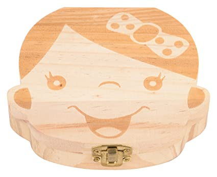 EduToys Girl's Wood Tooth Album Keepsake Souvenir Box