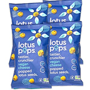 Lotus Pops - Popped Lotus (Water Lily) Seed Snacks – Low Calorie Gluten Free and Vegan Snacks | Plant Protein | Roasted Not-Fried | Paleo | GrainFree | Non GMO Certified | (Vegan Cheese 4 1oz Packs)