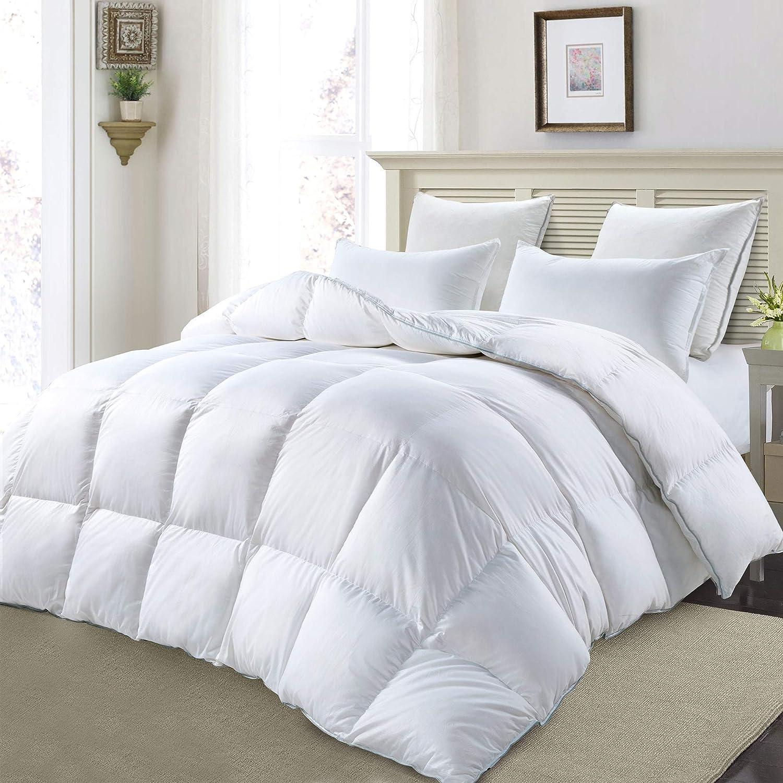 MoSurprise Premium Daunendecke 100% Gänsedaunen Luxus 4 Jahreszeiten Daunen Bettdecke Hypoallergene Ganzjahresdecke 225 x 220 cm weiß