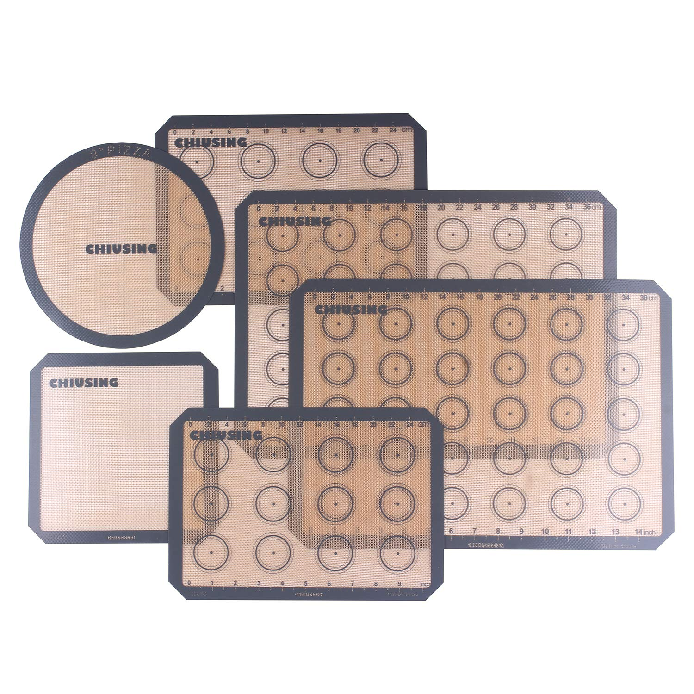6 piece silicone macaron baking mats with measurementsBPA free macaron silicone bake