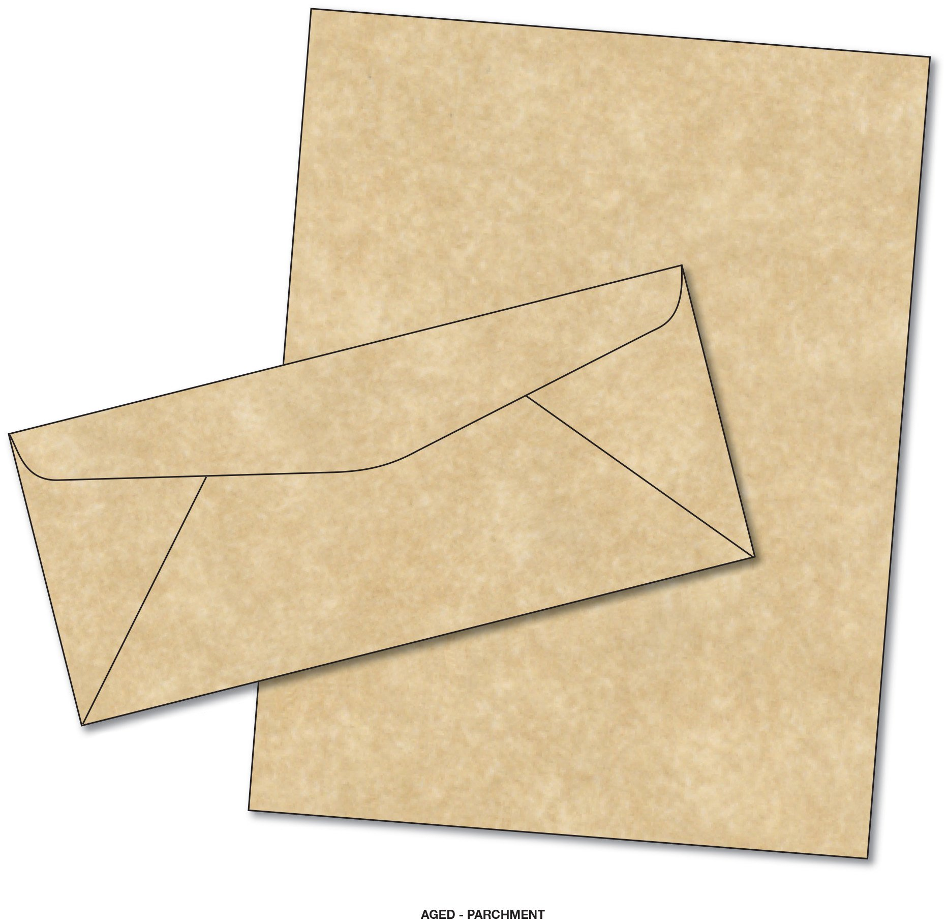 Parchment Matching Paper & Envelopes - Color: Aged - 50 Sets