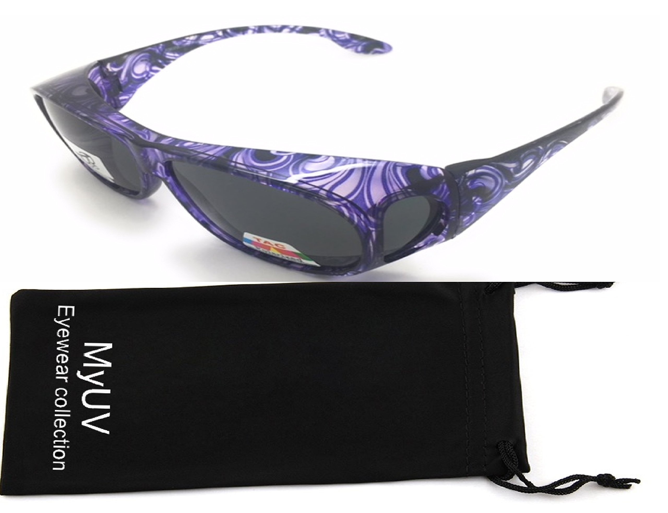 Polarized Fitovers Rhinestone Wear Over Glasses Size Large Oval Rectangular Fit Over Lens Cover Sunglasses (Polarized Purple)